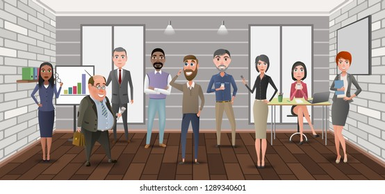 Cartoon business characters in the office.