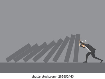 Cartoon business executive pushing hard against falling deck of domino tiles. Creative vector illustration for concept on determination and resilience isolated on grey background.