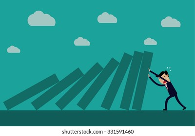 Cartoon business executive pushing hard against falling deck of domino tiles. Creative vector illustration for concept on determination and resilience