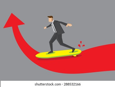 Cartoon business executive riding on a surfboard arriving at the turning point of a red bold arrow. Creative vector illustration for concept on turning point and scaling new height in business.