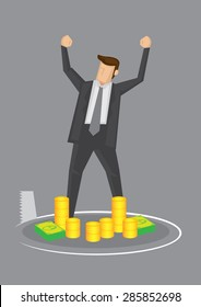 Cartoon business executive standing in front of money, feeling rich and powerful, oblivious of a saw cutting a hole beneath him. Creative vector illustration for concept on danger of complacency.