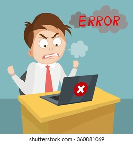 cartoon business man angry with laptop computer stress fail and technology concept, vector, illustration