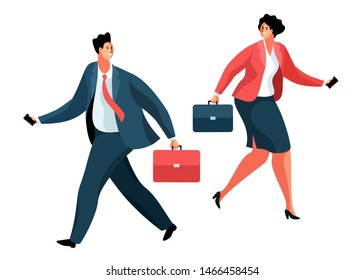 Cartoon business man and businesswoman or office workers. Male and female characters with briefcases and smartphones, in full height. Vector illustration