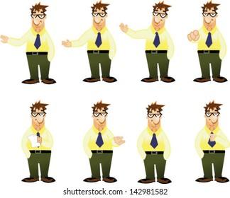 Cartoon business man set - Vector clip art illustration on white background