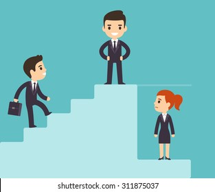 Cartoon business men climbing corporate ladder with woman under glass ceiling. Sexism issues in workplace. Flat vector style.