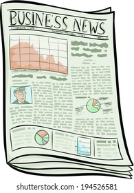 A cartoon business newspaper with the economic news.