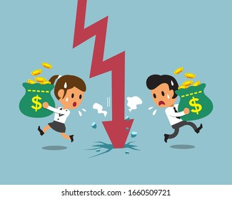 Cartoon business people carrying money bags with red arrow for design.