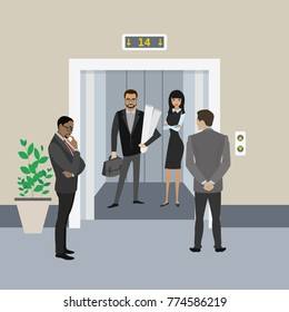 Cartoon business people in elevator and near, lift with open doors,flat vector illustration