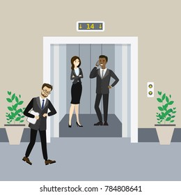 Cartoon business people in elevator and near and lift with open doors,flat vector illustration