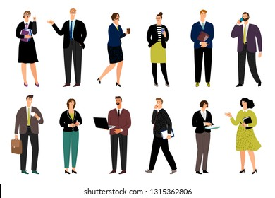 Cartoon business persons. Cartoon business characters vector illustration, happy diverse office people group, corporate team isolated