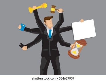 Cartoon business professional with multiple arms holding different objects. Vector illustration on metaphor for busyness and multitasking isolated on gray background.