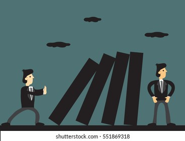 Cartoon business professional trying to sabotage coworker behind his back. Creative vector illustration for concept on toxic people and behavior in workplace.