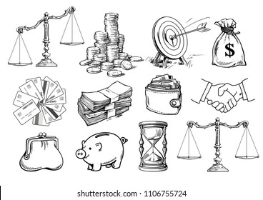 Cartoon business set. Scales, stack of coins, sack of dollars, credit cards, handshake, purse, wallet, piggy bank, target, arrow, hourglass. Sketch vector illustration isolated on white background.