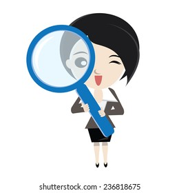 Cartoon business woman analyse with big magnifier glass. vector design illustration.