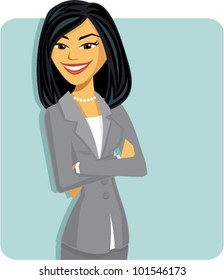 Cartoon of an business woman with arms crossed