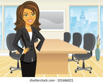 Cartoon of a business woman standing in a boardroom
