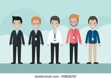 Cartoon businessman avatar set - illustration vector