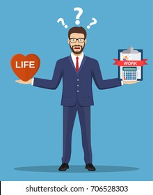 Cartoon businessman balancing Work and life on both arms. Creative vector illustration for ethical dilemma concept. Vector illustration in flat style