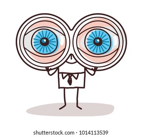 Cartoon Businessman with Big Binoculars Eyes