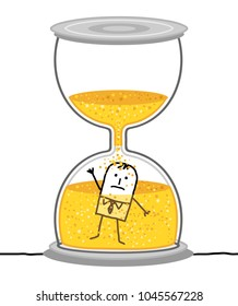 Cartoon Businessman in a Big Hourglass