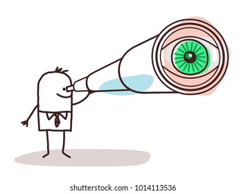 Cartoon Businessman with Big Telescope Eye