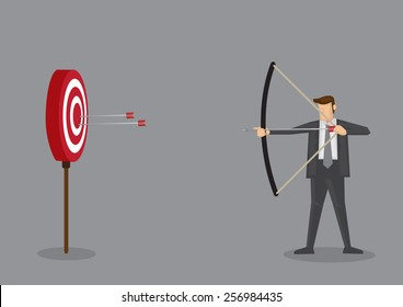 Cartoon businessman with bow and arrow hitting the center bulls-eye in archery target. Conceptual vector illustration isolated on grey background.