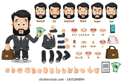 Cartoon businessman constructor for animation. Parts of body: legs, arms, face emotions, hands gestures, lips sync. Full length, front, three quater view. Set of ready to use poses, objects.