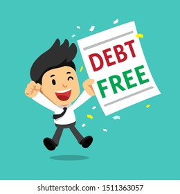 Cartoon businessman with debt free letter for design.