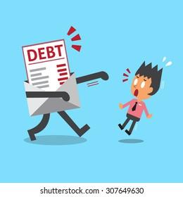 Cartoon businessman and debt letter