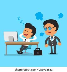 Cartoon businessman falling asleep in his office