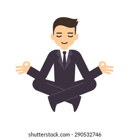 Cartoon businessman in formal suit meditating in lotus pose. Isolated on white background.