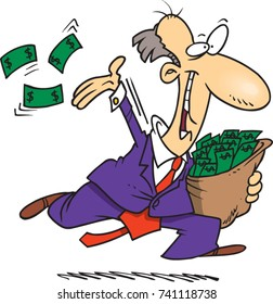 cartoon of a businessman generously throwing money into the air