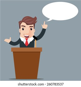 Cartoon businessman giving presentation at a podium, Presentation and performance before an audience. Rhetoric. Oratory, lecturer, business seminar