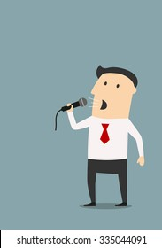 Cartoon businessman giving a speech with microphone on presentation, meeting or public performance