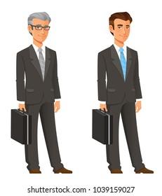 cartoon businessman in grey suit