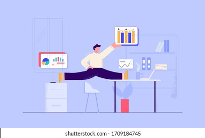 Cartoon businessman gymnastic working at office with graph and diagram vector flat illustration. Business male having flexible work time schedule at workplace isolated. Balance and planning concept