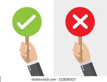Cartoon, Businessman hand hold signboard Green check mark and red X mark Right and Wrong for feedback,vector eps10