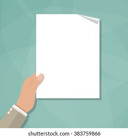 Cartoon businessman hand holding empty blank paper. vector illustration in flat design on green background
