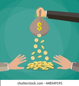 Cartoon businessman hand holding money bag and losing golden coins that poured out from a hole in the bag, other hands trying to steal fallen money. vector illustration in flat style, green background