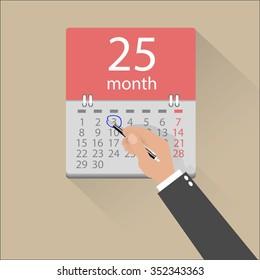cartoon businessman hand mark on the calendar by pen. vector illustration in flat design on light background