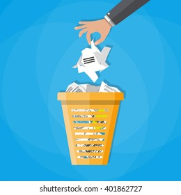 Cartoon businessman hand put paper in office trash recycle bin for garbage. Bin for papers. Vector illustration in flat design on blue background