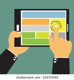 Cartoon businessman hands are holding and point on touch screen device for presentation and advertising graphics, vector illustration.