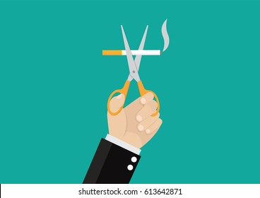 Cartoon, Businessman Hands holding scissors cut a cigarettes., vector eps10