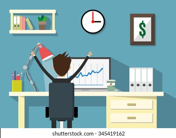 cartoon businessman happy sitting infront of his laptop with the graph showing the arrow going up. Business growth concept. Vector illustration in flat design.