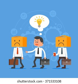 Cartoon businessman with idea outstanding from crowd. Think out of the box. Vector concept illustration in flat style design. Creative ideas, gears, man characters, light bulb