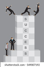 Cartoon businessman on top of Success pushes others away. Creative vector illustration on metaphor for ruthless and selfish acts to stay on top of business success.