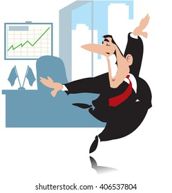 Cartoon businessman or politician. He is happy and he dances. Vector illustration