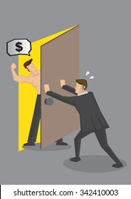 Cartoon businessman pushing door to shut out hostile muscular man demanding for money. Vector illustration on personal finance and debt collection concept.
