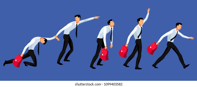 Cartoon businessman in race. Set of male comic characters running in office suits with briefcases. Vector illustration