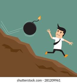 Cartoon businessman running away from sparkling bomb. vector illustration.